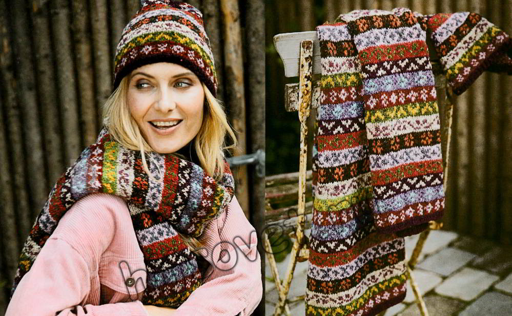 Шапочка и шарф яркими жаккардовыми узорами