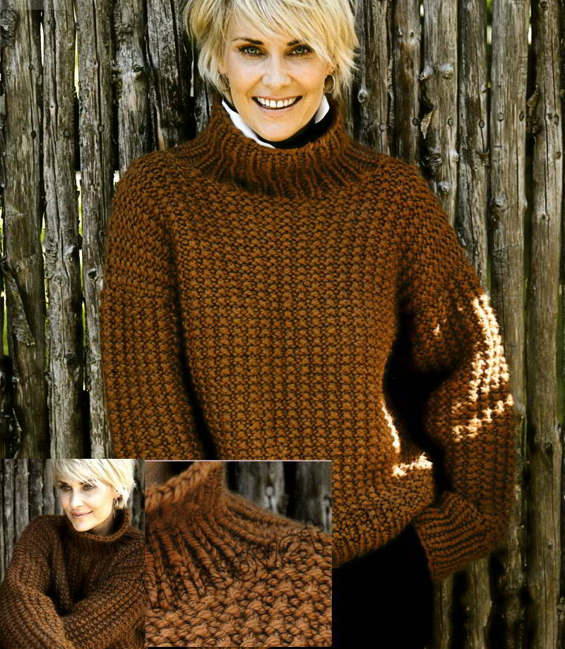 Свободный свитер структурным узором, фото.