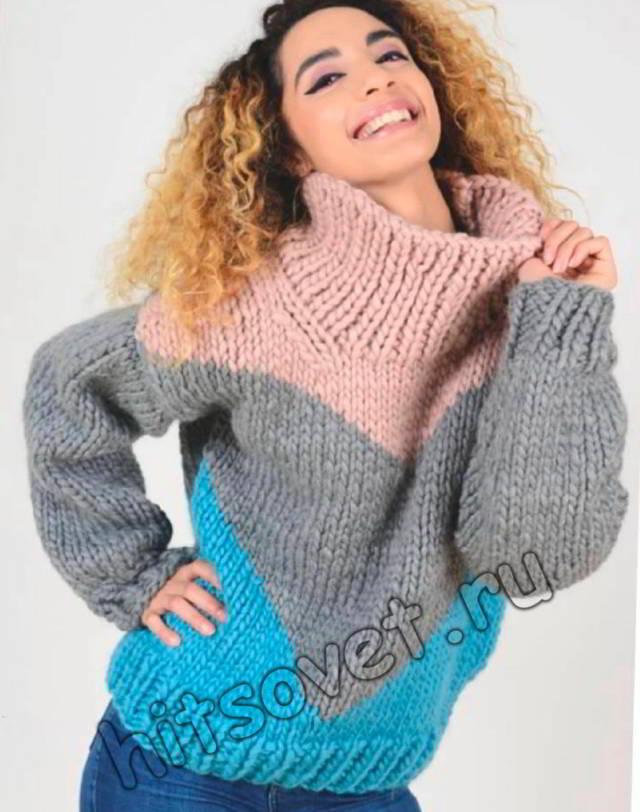 Свободный трехцветный свитер для женщин, фото.