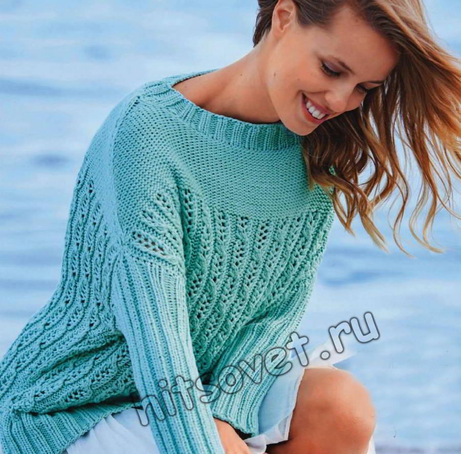 Вязаный пуловер с ажурным узором из кос, фото.