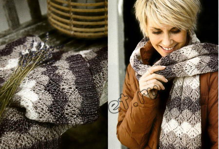 Вязаный шарф с ажурными ромбами, фото 1.