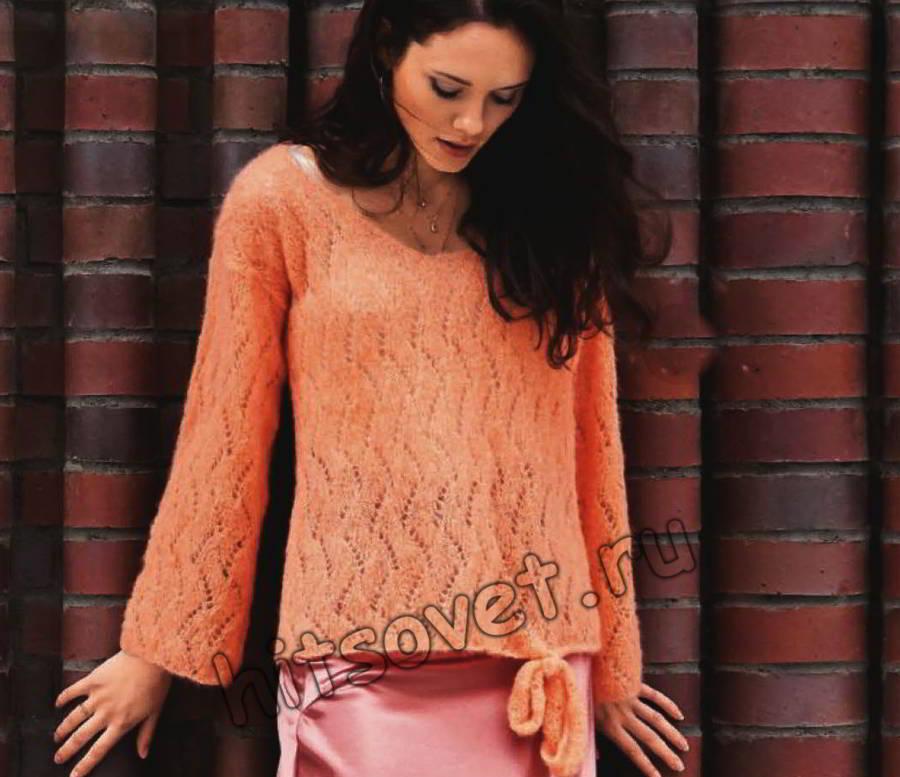 Ажурный мохеровый пуловер с завязками, фото.