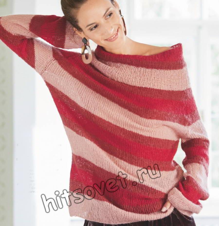 Легкий пуловер с широкими полосами, фото.