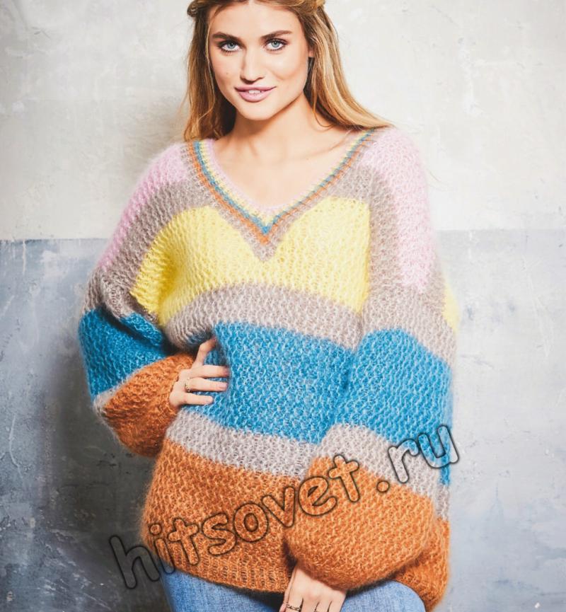 Пуловер оверсайз с широкими цветными полосами