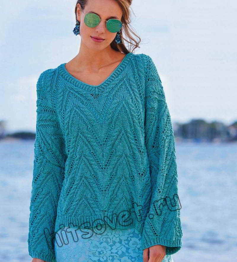 Пуловер оверсайз с зубчатым узором из кос, фото