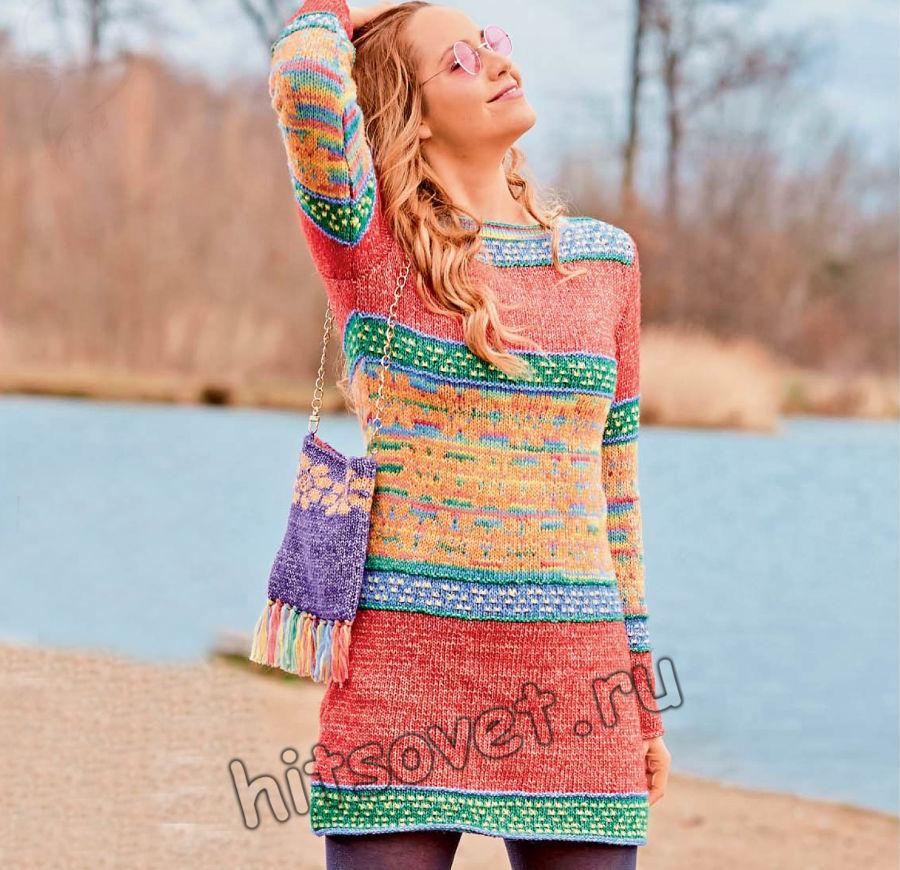 Короткое вязаное платье в стиле хиппи, фото.