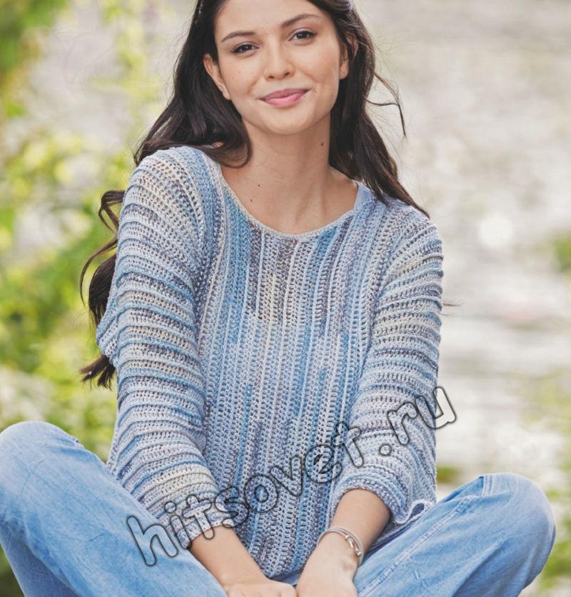 Летний пуловер из шелка крючком