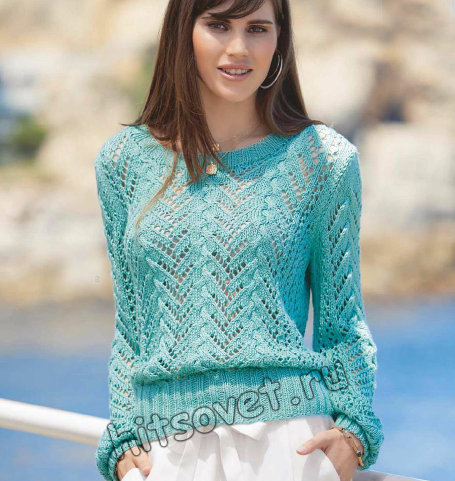 Летний пуловер с ажурными косами, фото.
