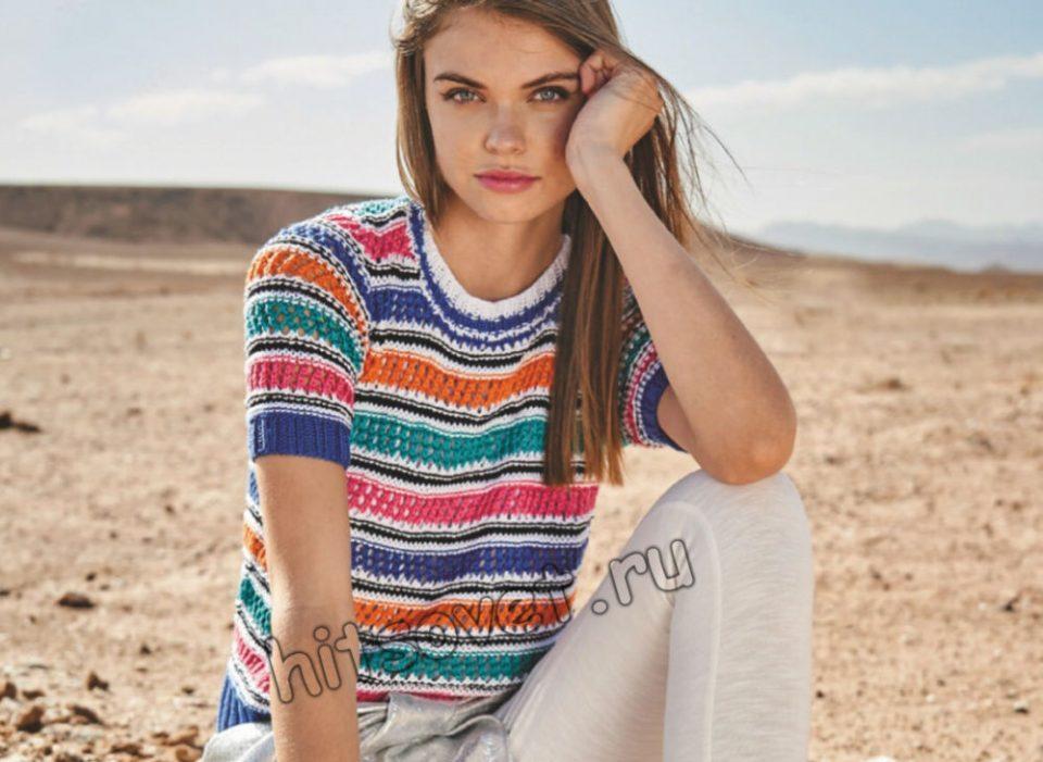 Модный топ в цветную ажурную полоску, фото.