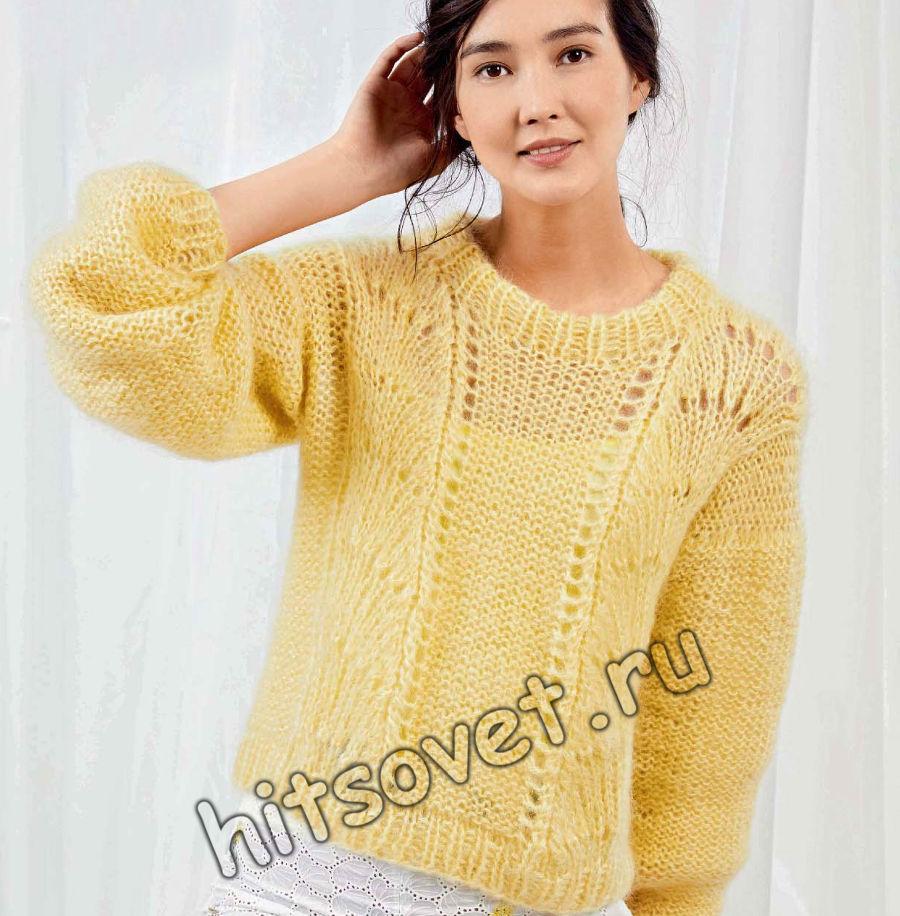 Мохеровый ажурный пуловер, фото.