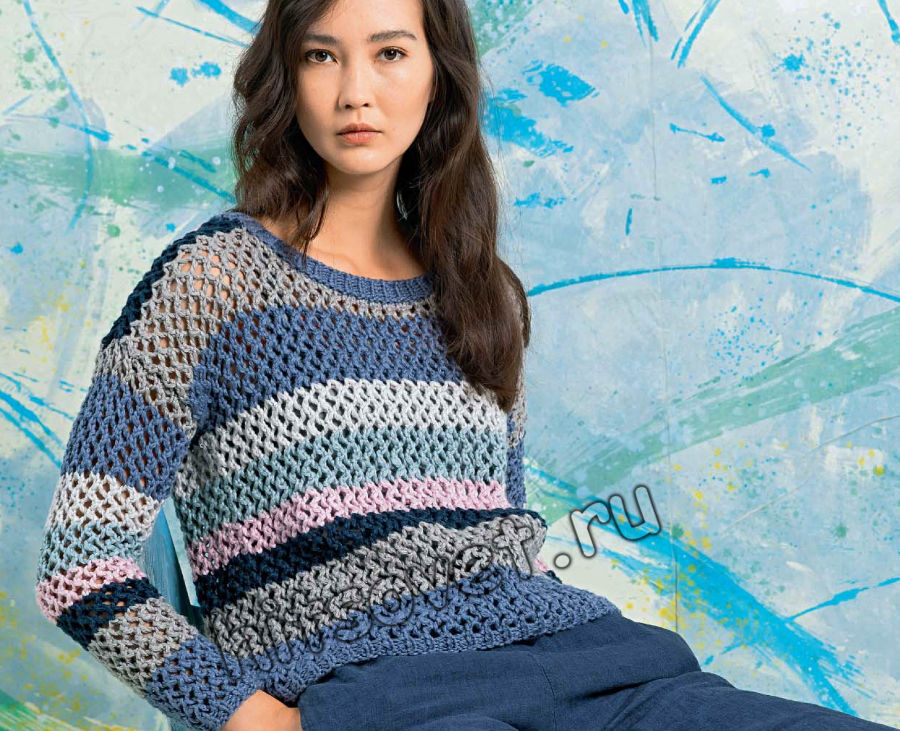 Сетчатый полосатый пуловер, фото.