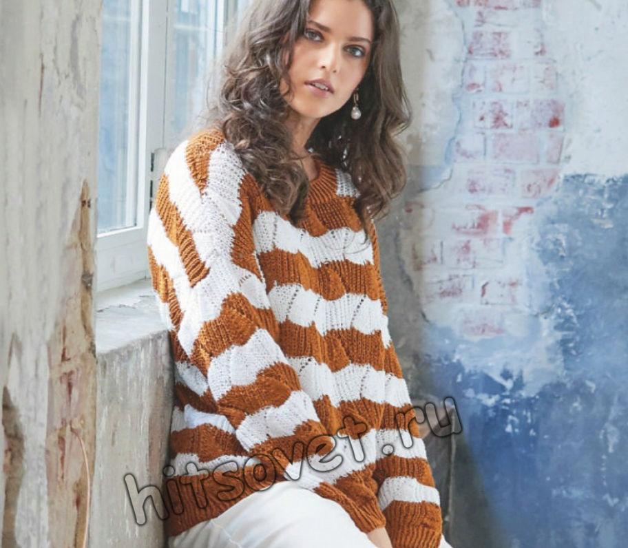 Свободный полосатый свитер резинкой, фото.