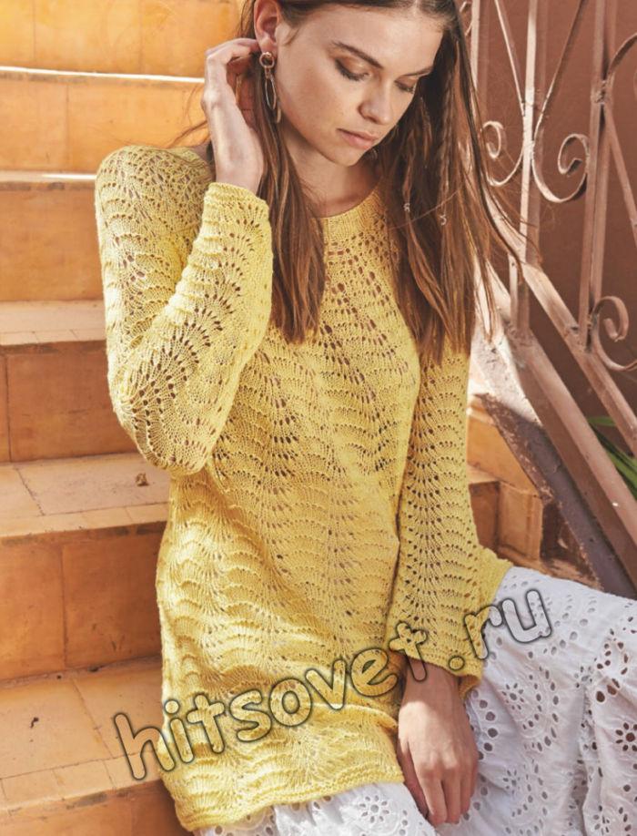 Удлиненный летний пуловер из хлопка, фото.