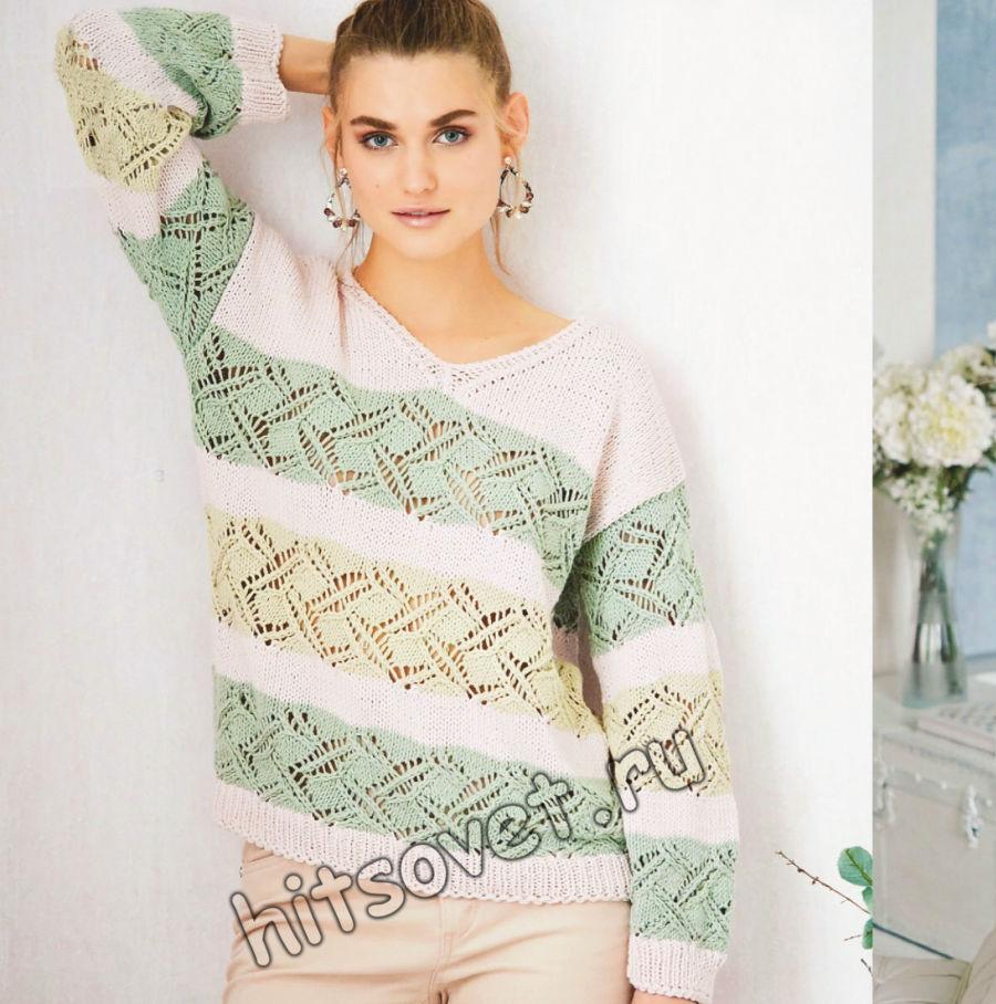 Вязание пуловера с полосами узоров, фото.