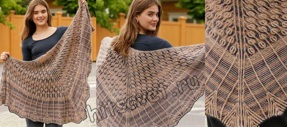 Вязание шали Owl Feathers, фото.