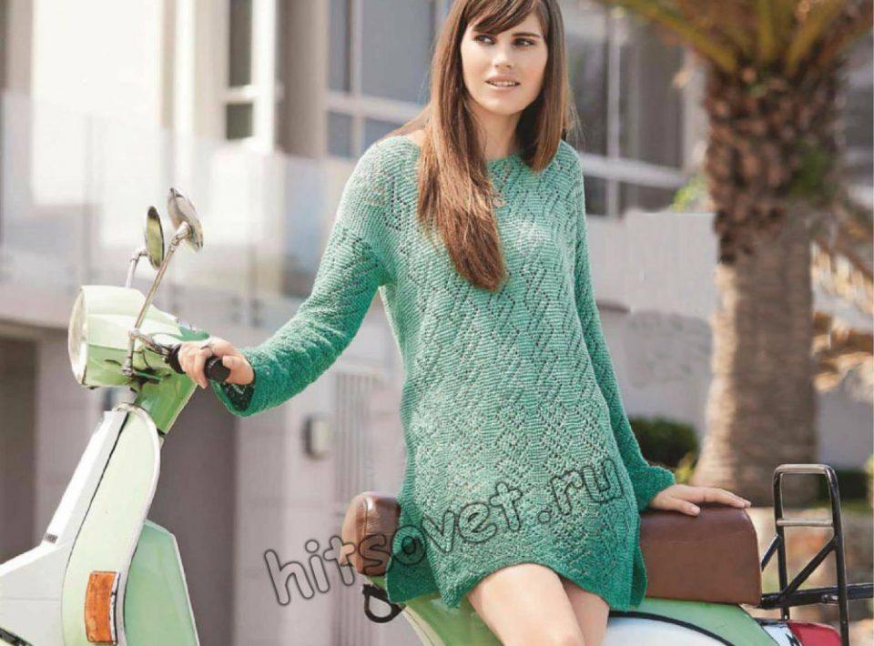 Вязаное мини-платье из секционной пряжи, фото.