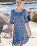 Вязаное платье с воланами на рукавах