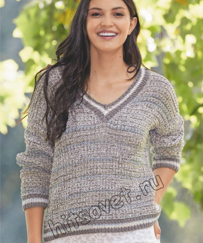 Женский пуловер в спортивном стиле, фото.