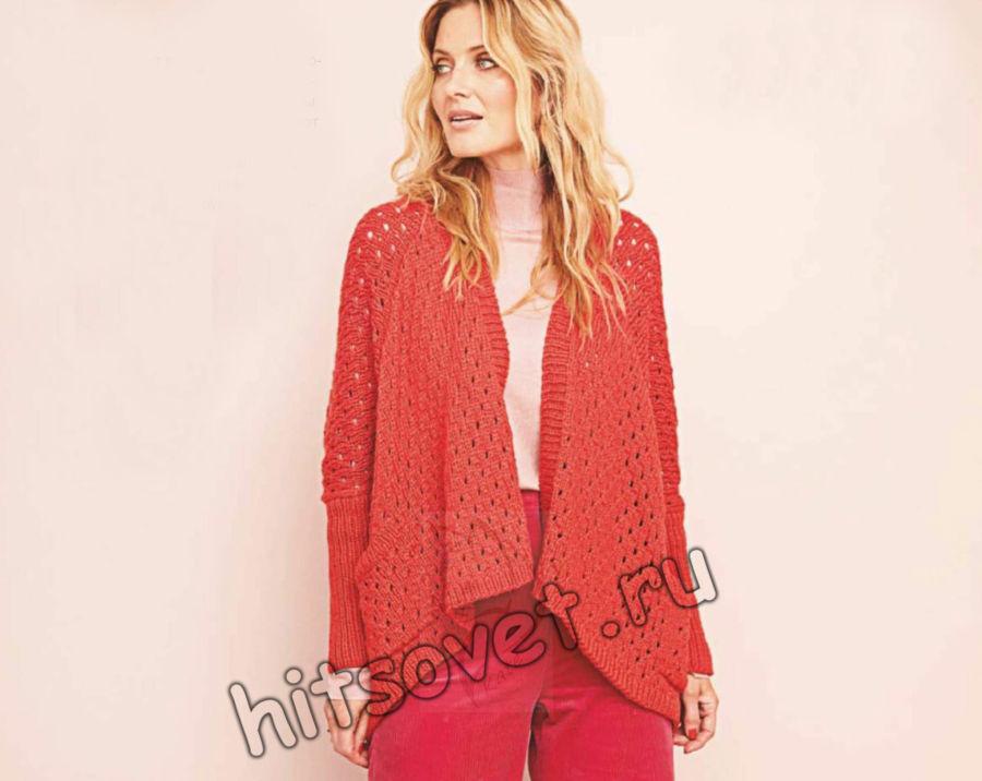 Модный красный кардиган с карманами, фото.