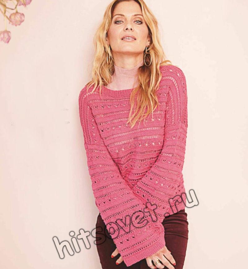 Розовый джемпер с рукавами-раструбами, фото.
