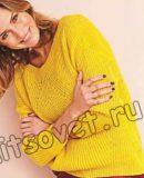 Свободный пуловер полупатентной резинкой