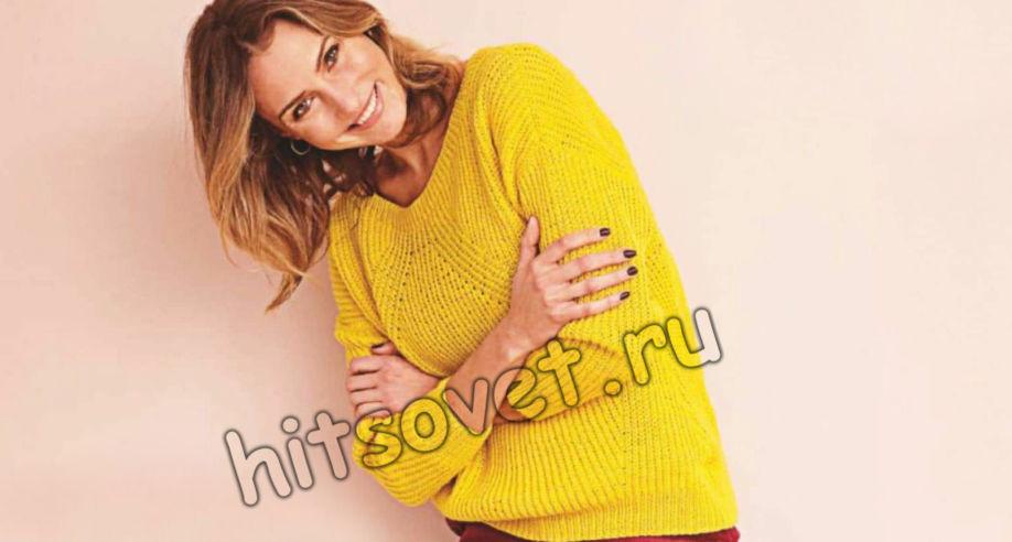 Свободный пуловер полупатентной резинкой, фото.