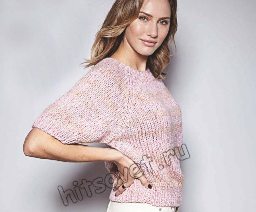 Свободный пуловер с укороченными рукавами, фото.