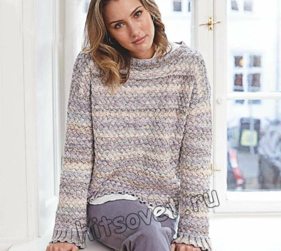 Вязание джемпера плетеным узором, фото.