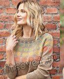 Вязание пуловера с разноцветными кругами на кокетке
