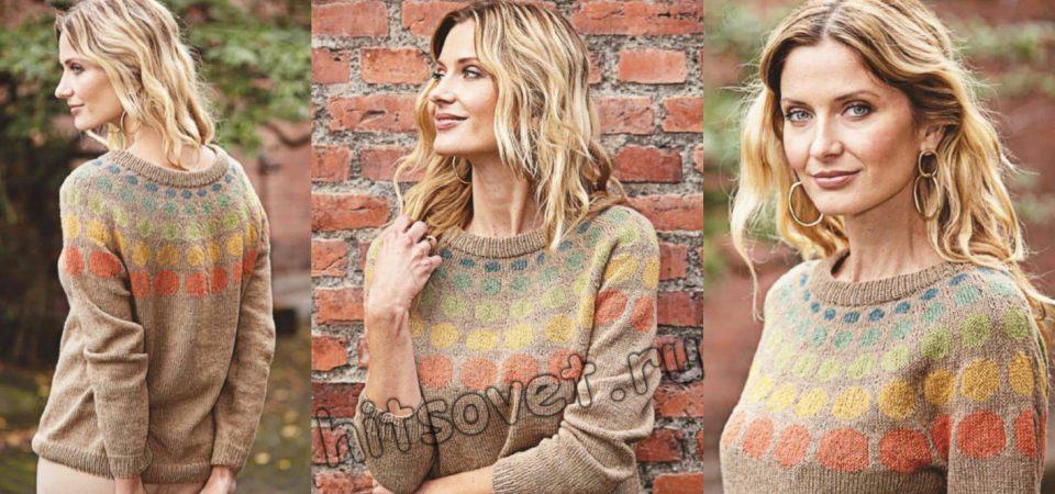 Вязание пуловера с разноцветными кругами на кокетке, фото.
