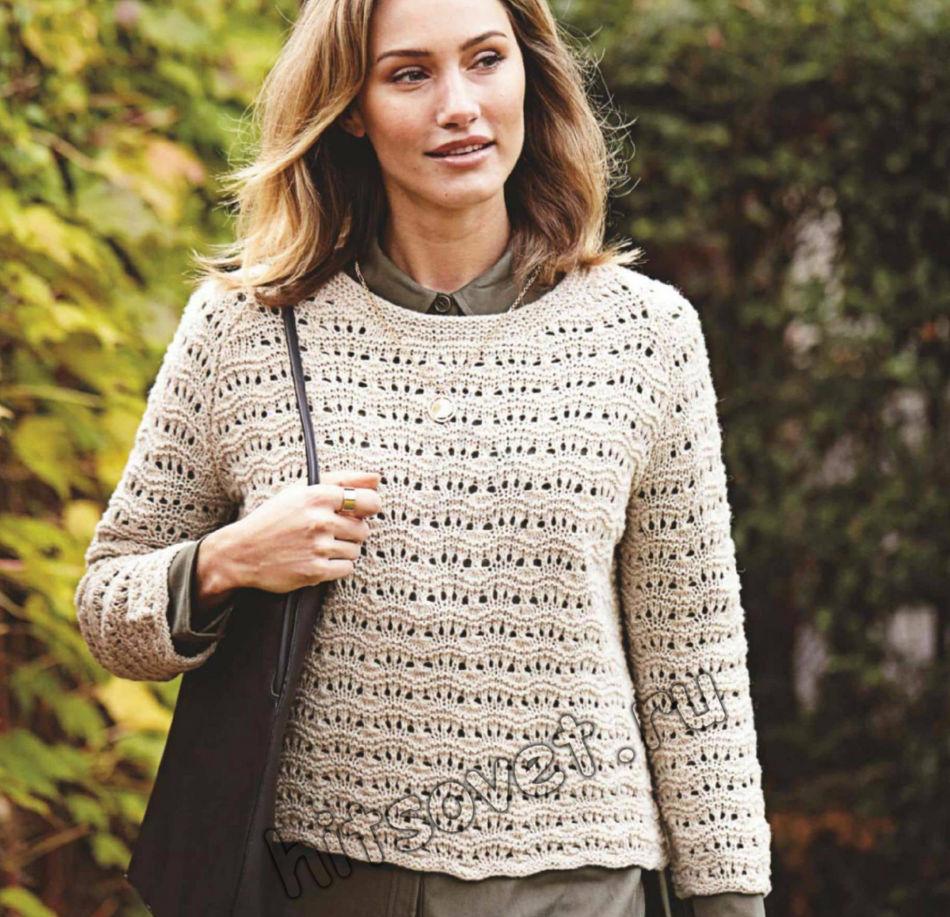 Вязание пуловера с узором перо павлина, фото.
