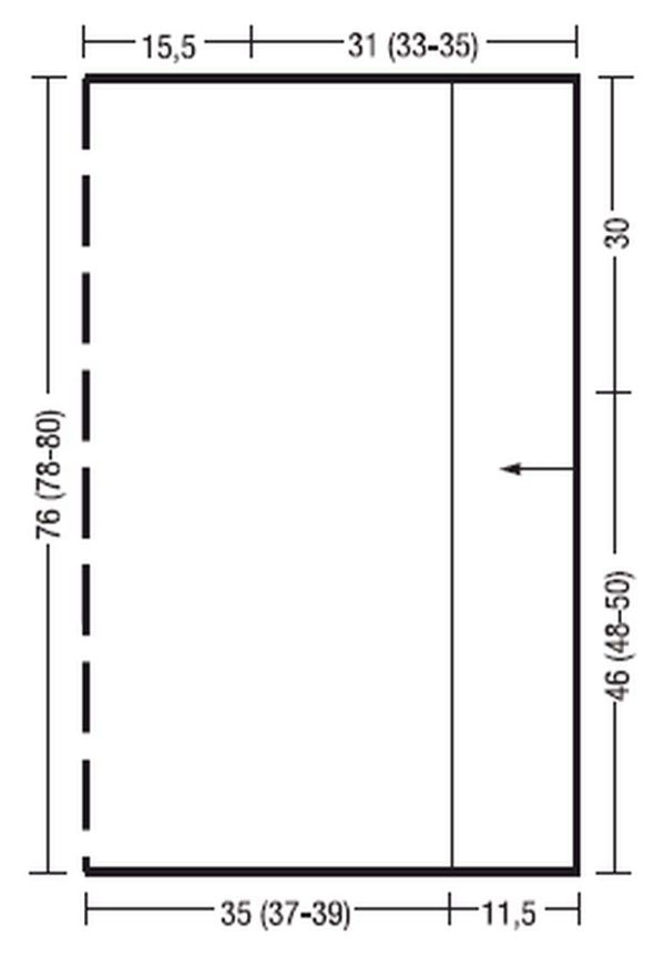 Длинное объемное пончо связанное поперек, выкройка.