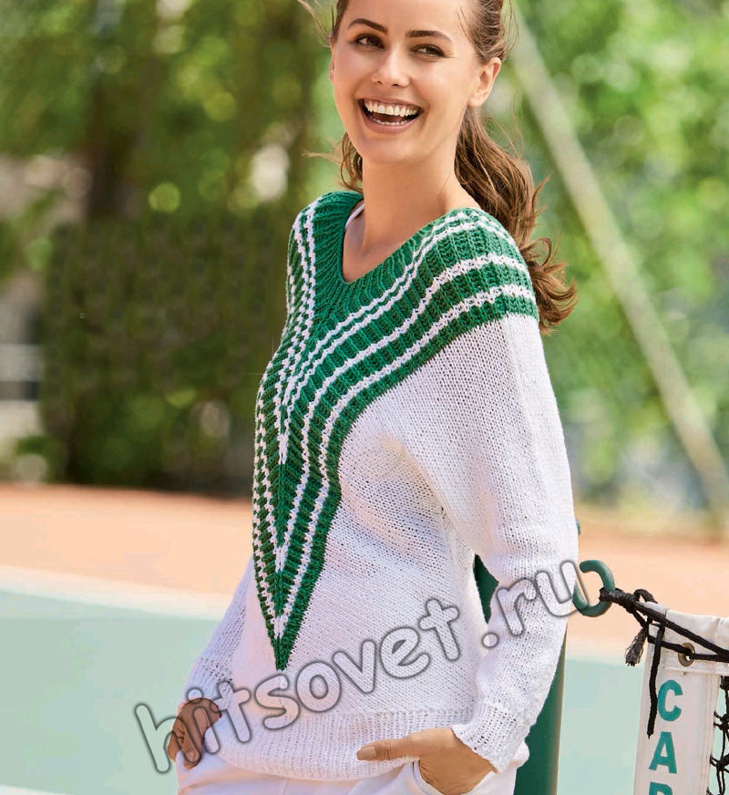 Эффектный женский пуловер спицами, фото.