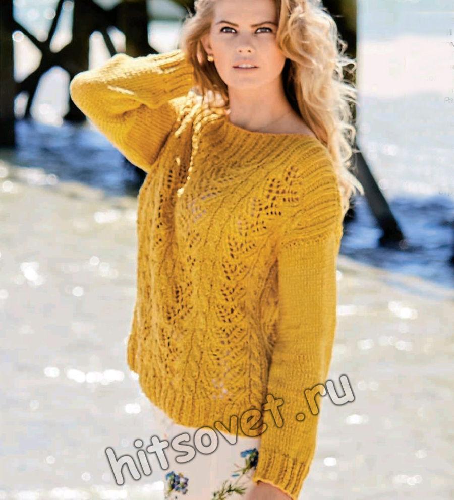 Летний пуловер из хлопка с косами, фото.