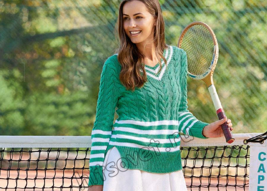 Модный пуловер с косами и полосами