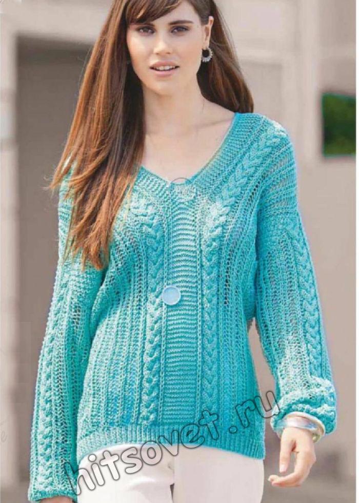 Модный узорчатый пуловер с V-образным вырезом