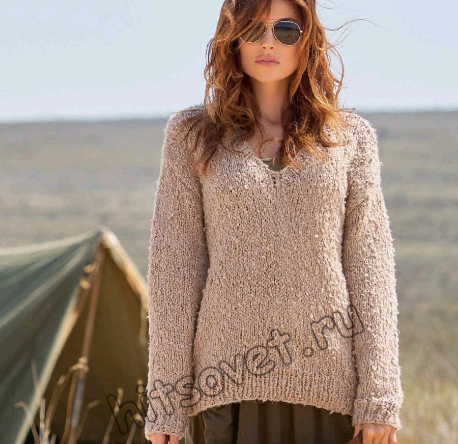 Стильный женский пуловер из хлопка, фото.