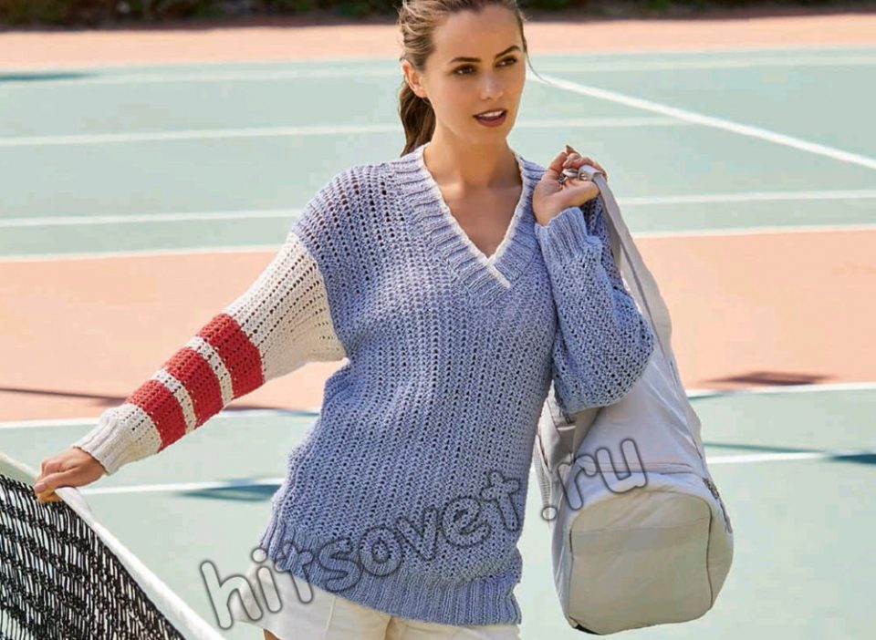 Вязание пуловера с асимметричными рукавами, фото.