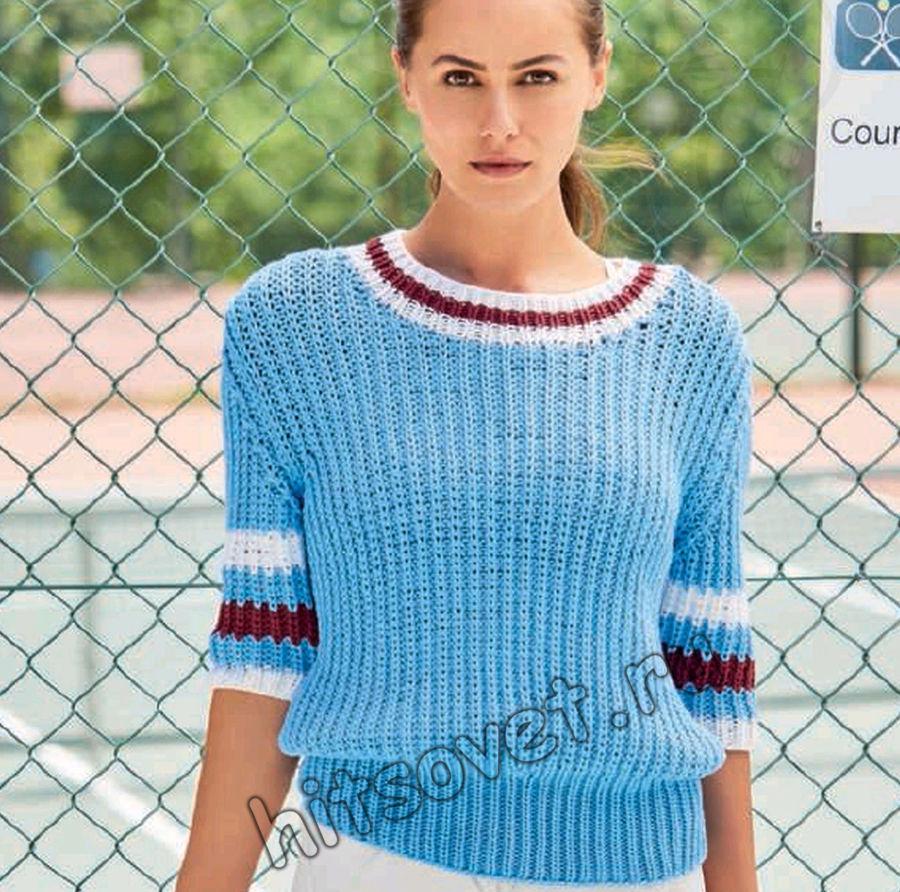 Вязание пуловера с укороченными рукавами полупатентной резинкой, фото.