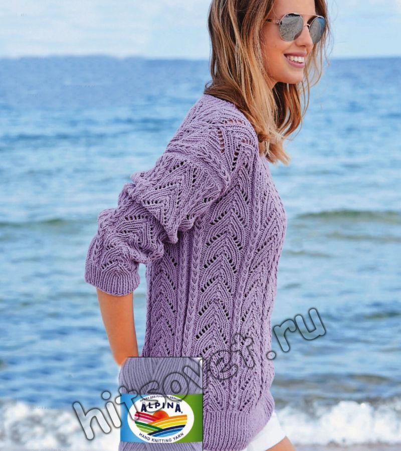 Вязание сиреневого пуловера с красивым ажурным узором, фото.
