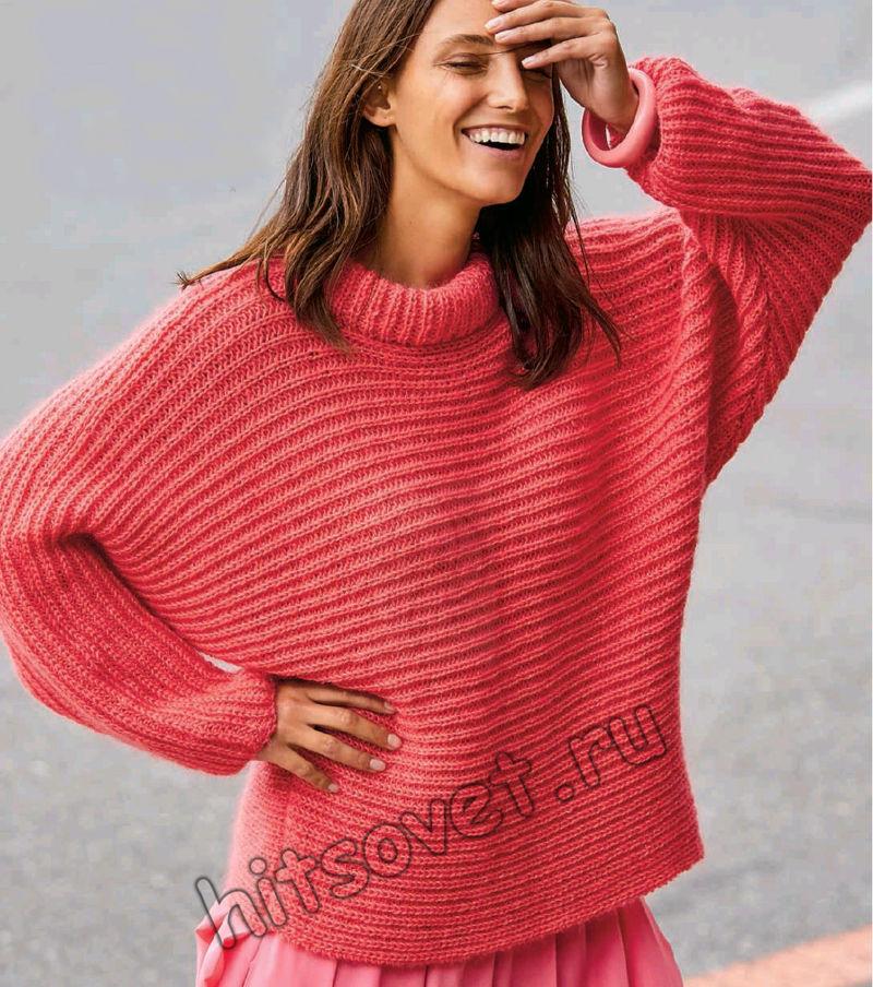 Вязание свитера оверсайз полупатентным узором, фото.