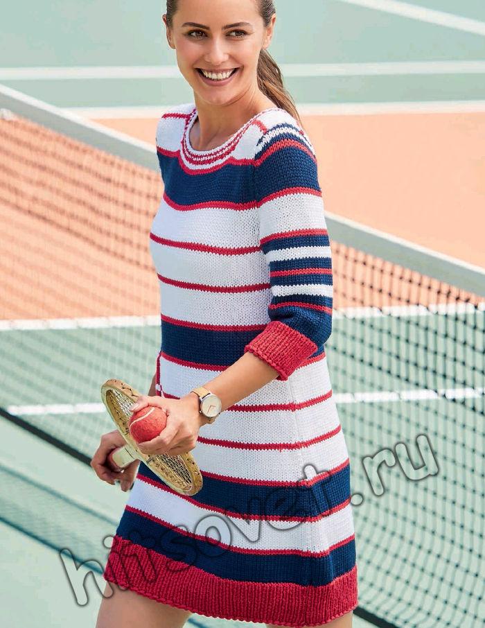 Вязаное мини-платье в полоску, фото.