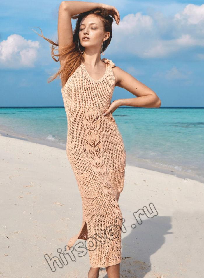Длинное сетчатое платье спицами, фото.