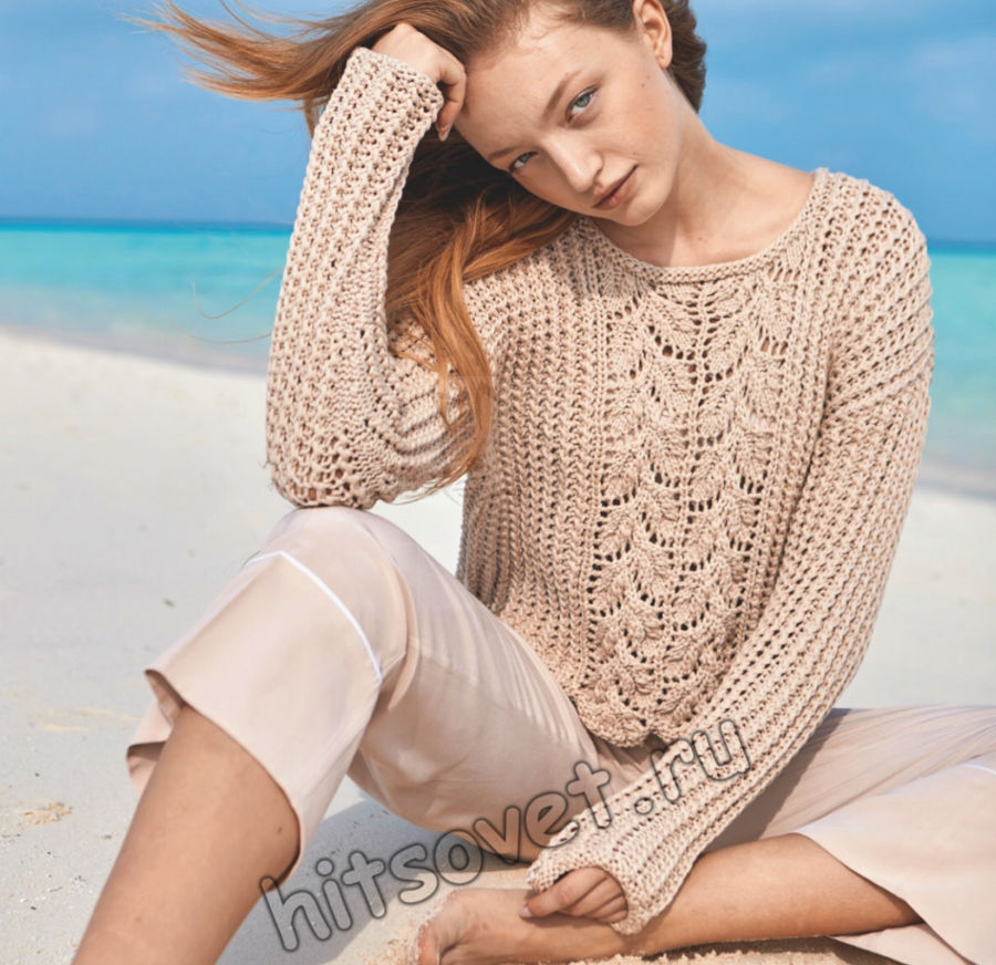 Красивый летний пуловер описание и схема