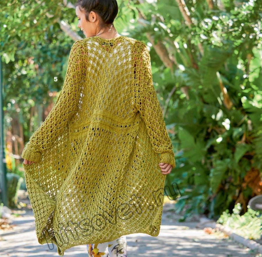 Летнее вязаное пальто, фото.
