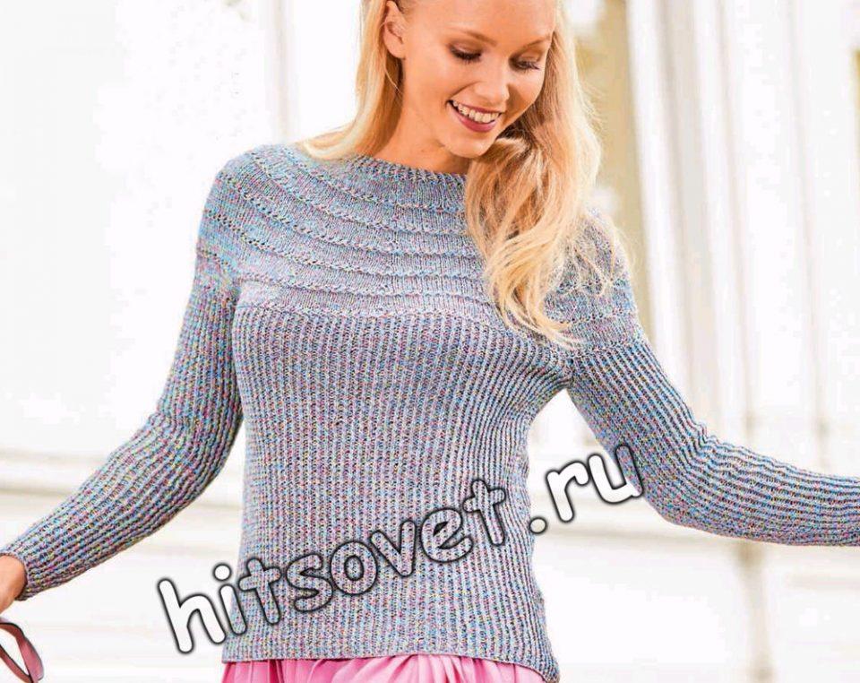Летний пуловер с круглой кокеткой из сквозных дорожек, фото.