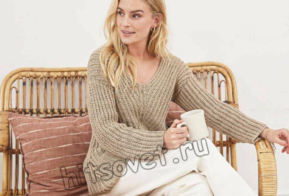 Пуловер с диагональным полупатентным узором, фото 1.