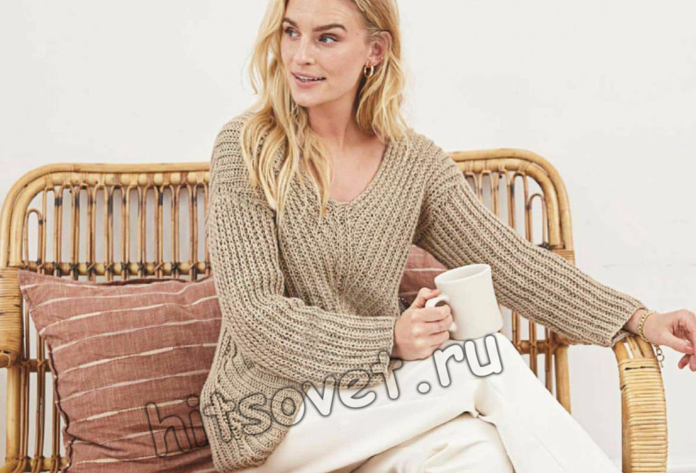 Пуловер с диагональным полупатентным узором