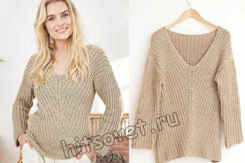 Пуловер с диагональным полупатентным узором, фото 2.