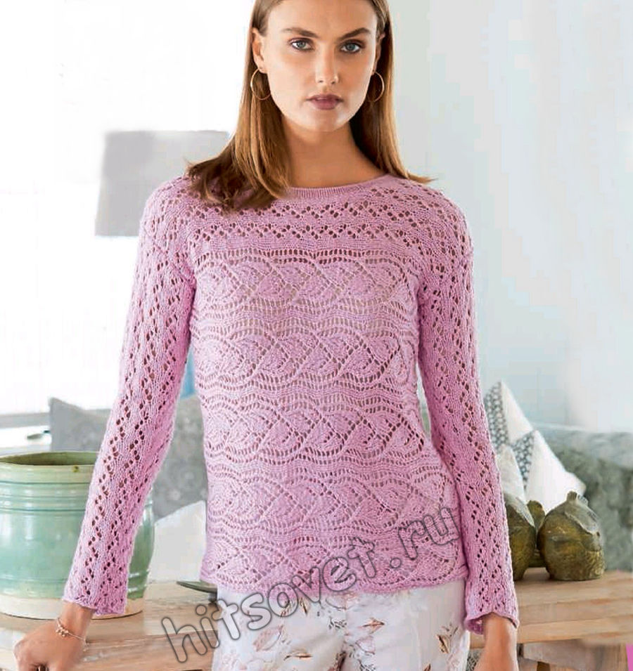 Розовый летний пуловер с листьями, фото.